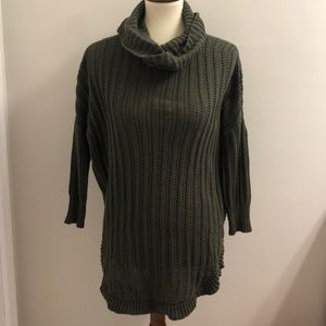 Olive green cowl-neck sweater